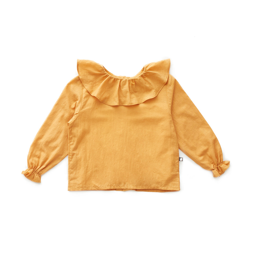 Oeuf Kids tops Ruffle Collar Blouse-Ochre - Ever Simplicity