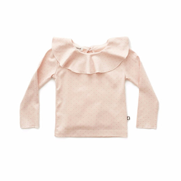 Ruffle Collar Tee-Light Pink