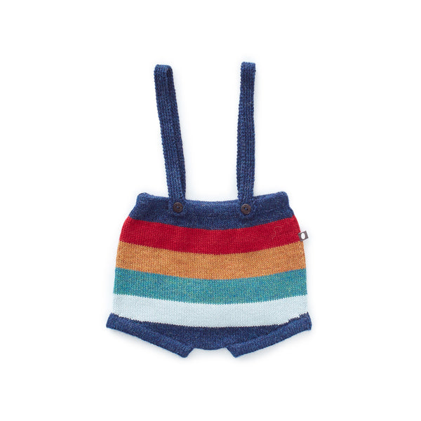 Oeuf Kids bottoms Suspender Shorts-Multi Stripes - Ever Simplicity
