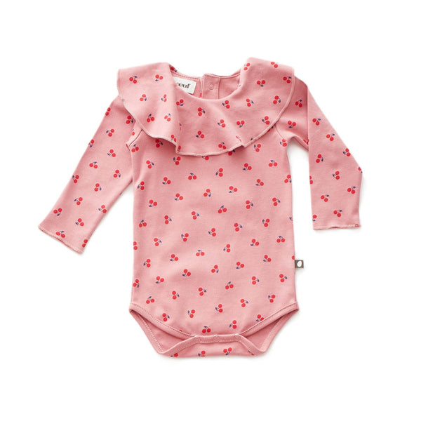 Ruffle Collar Onesie-Dark Pink/Cherries