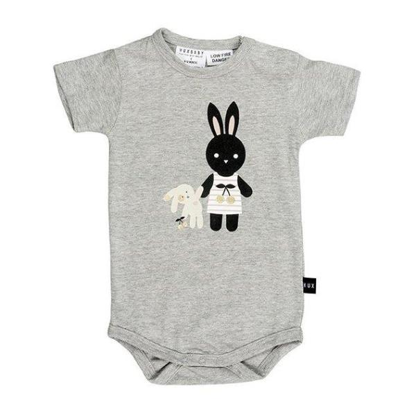 Huxbaby Kids one-pieces Grey Bunny Onesie - Ever Simplicity