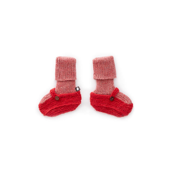 Sock Booties-Rose/Light Red