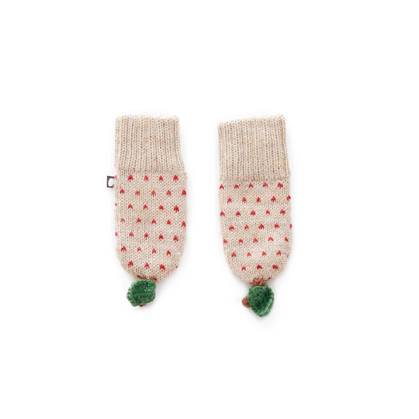 Oeuf Kids accessories Apple Mittens-Beige/Red Dots - Ever Simplicity