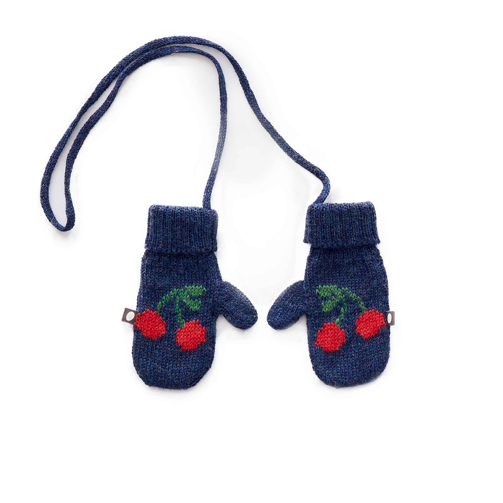 Oeuf Kids accessories Cherry Mittens-Indigo/Red - Ever Simplicity