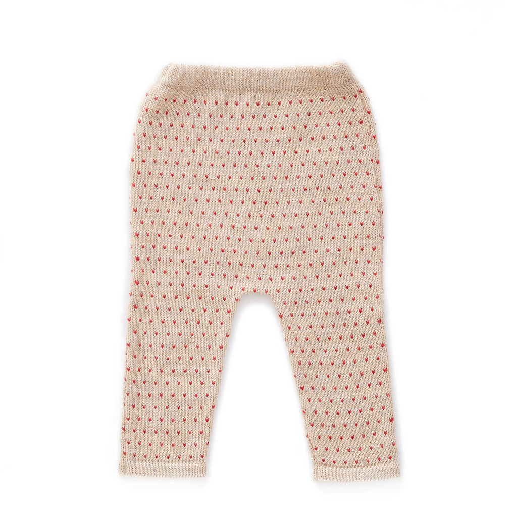 Oeuf Kids Bottoms Hammer Pants-Beige/Red Dots - Ever Simplicity