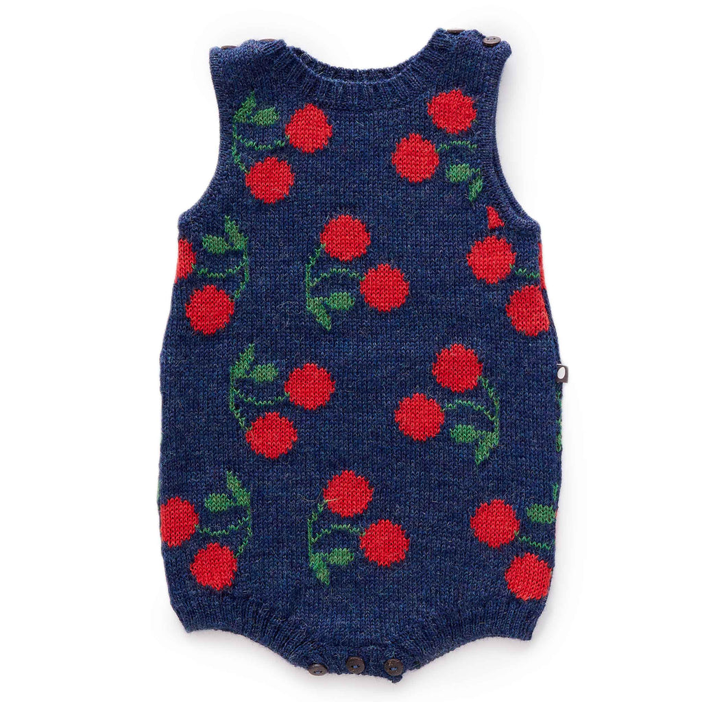 Oeuf Kids one-pieces Cherry Tank Romper-Indigo/Red - Ever Simplicity