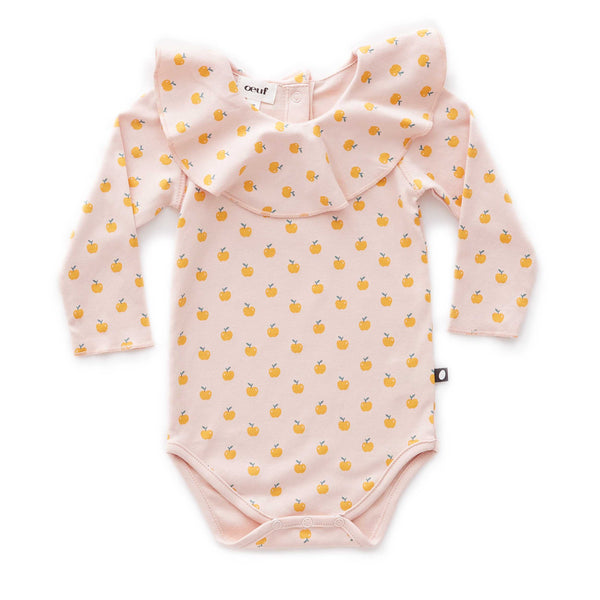 Ruffle Collar Onesie-Light Pink/Apples
