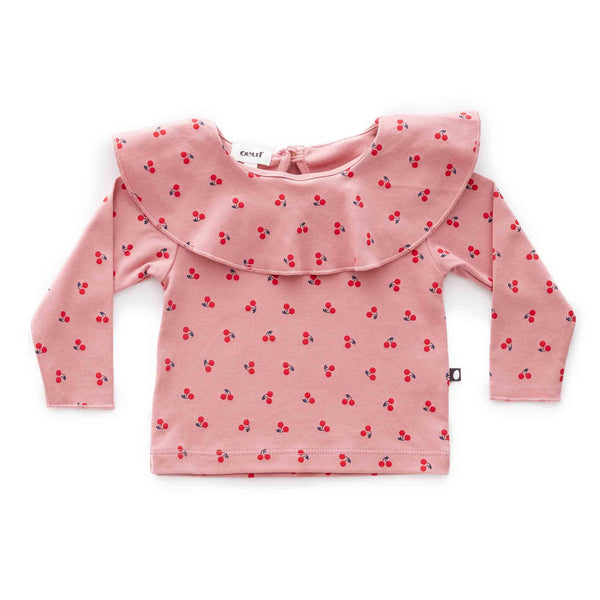 Oeuf Kids tops Ruffle Collar Tee-Dark Pink/Cherries - Ever Simplicity