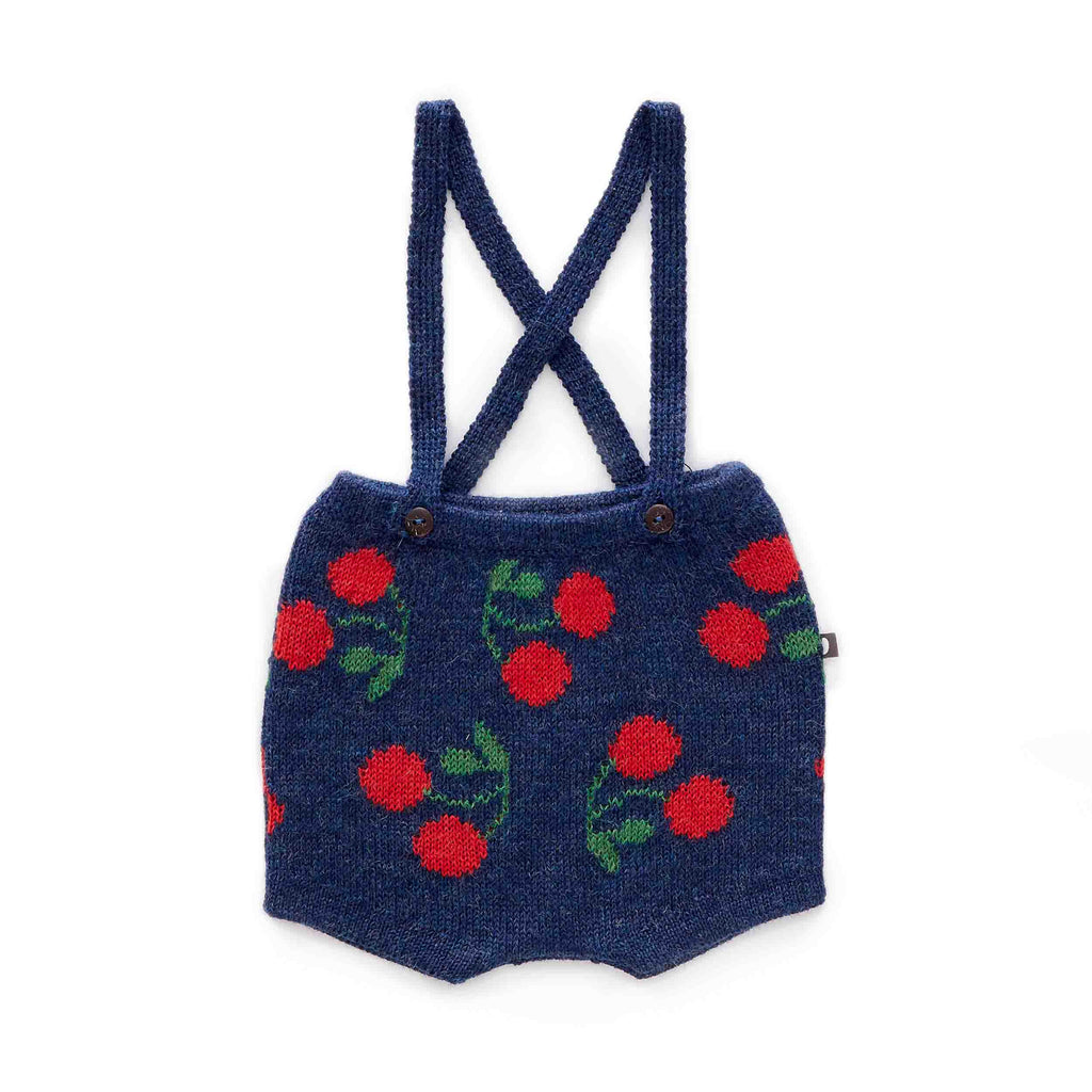 Oeuf Kids bottoms Cherry Suspender Shorts-Indigo/Red - Ever Simplicity