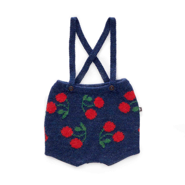 Suspender Shorts-Indigo/Red