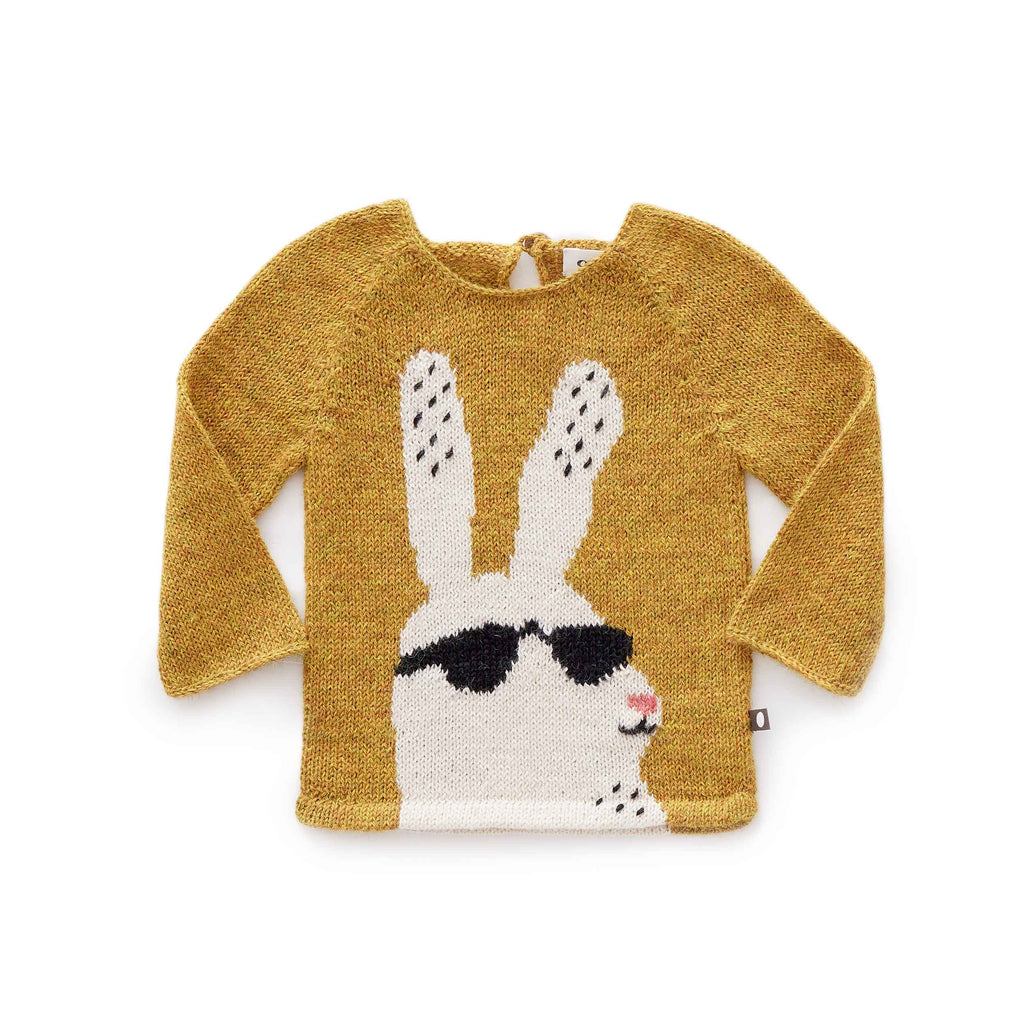 Oeuf Kids tops Bunny Sweater-Mustard/White - Ever Simplicity