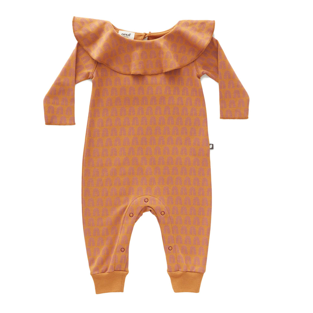 Oeuf Kids one-pieces Ruffle Jumper-Ochre/Rainbows - Ever Simplicity