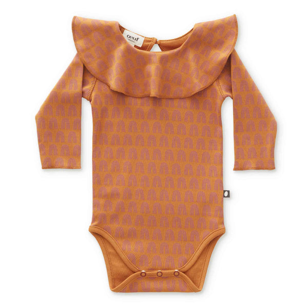 Ruffle Collar Onesie-Ochre/Rainbows