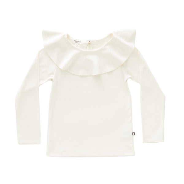 Ruffle Collar Tee-White