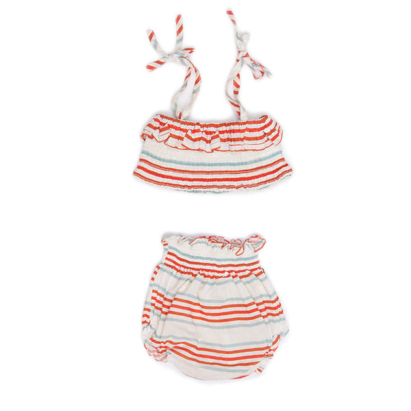 Bikini-White/Multi Stripes