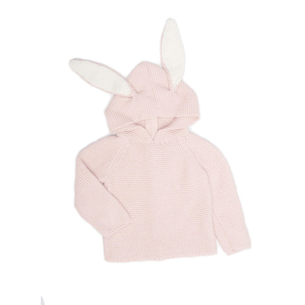 Oeuf Kids cardigans BUNNY HOODIE-LIGHT PINK - Ever Simplicity