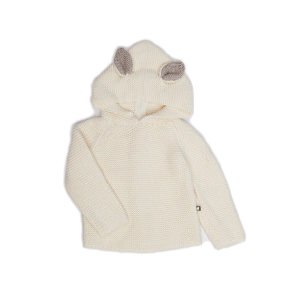 Oeuf Kids cardigans Cat HOODIE-White - Ever Simplicity