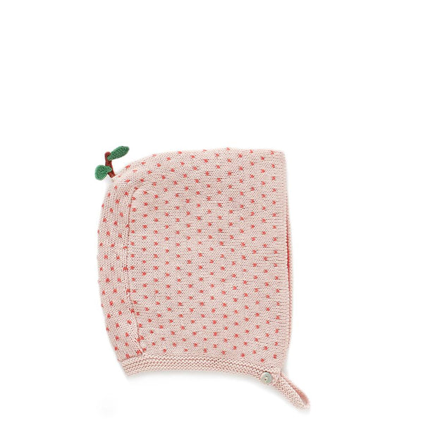 Peach Hat-Rose/Red Dots