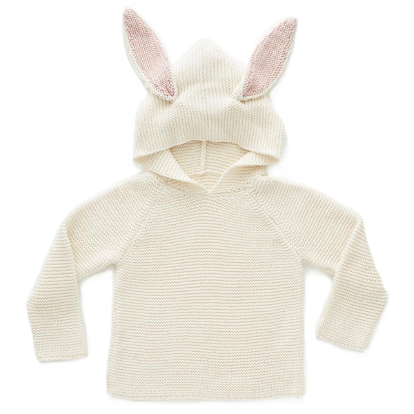 Oeuf Kids cardigans BUNNY HOODIE-White - Ever Simplicity