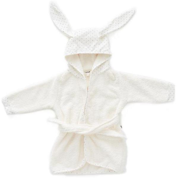 Oeuf Kids cardigans Hooded Robe-White/Indigo Dots - Ever Simplicity
