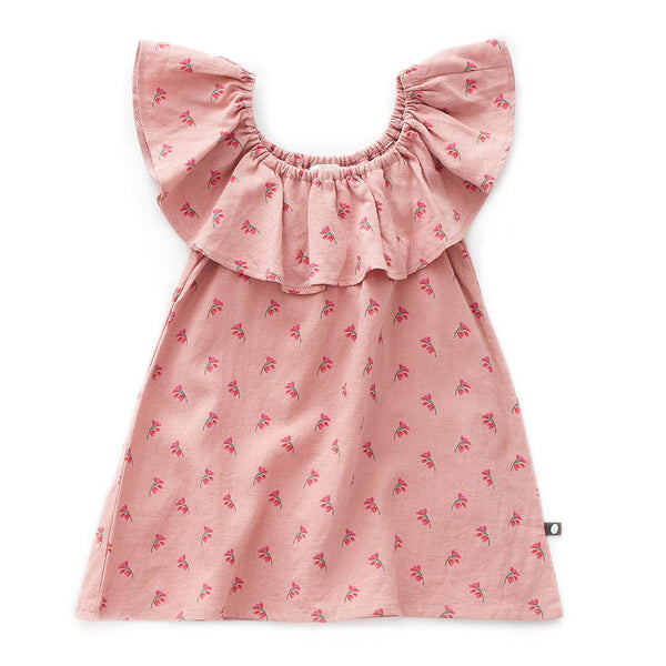 Oeuf Kids dresses Ruffle Linen Dress-Rose/Flowers - Ever Simplicity
