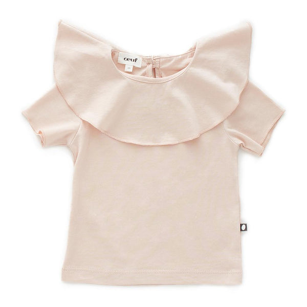Oeuf Kids tops Ruffle Collar Short Sleeve Tee-Light Pink - Ever Simplicity
