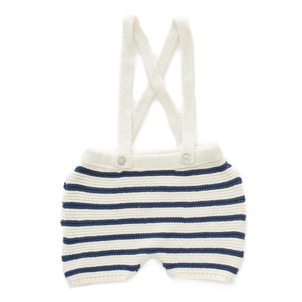 STRIPED SHORTS-WHITE/DARK NAVY STRIPES