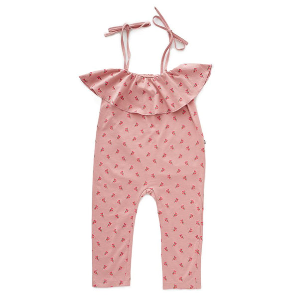 Oeuf Kids Bottoms Ruffle Jersey Overall-Rose/Flowers - Ever Simplicity