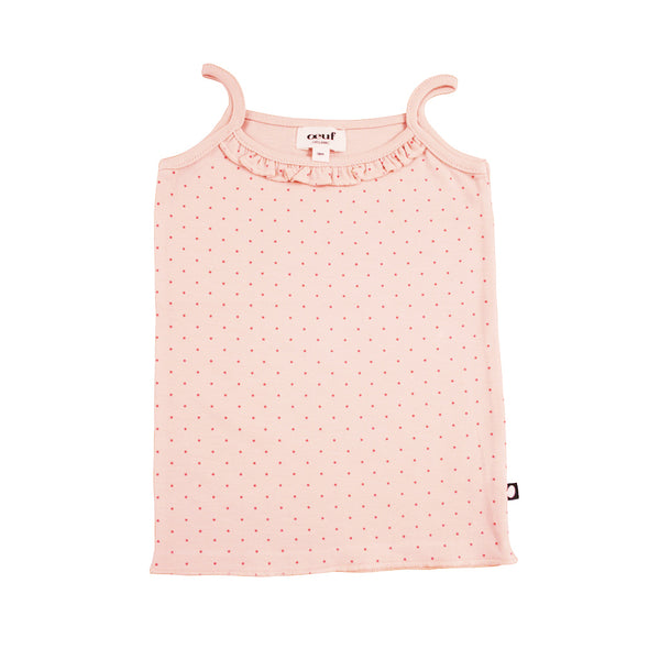 Ruffle Tank Top-Light Pink/Rust Dots
