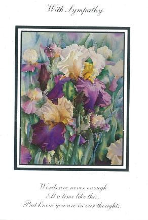 Purple Iris Sympathy Cards (pack of 5)