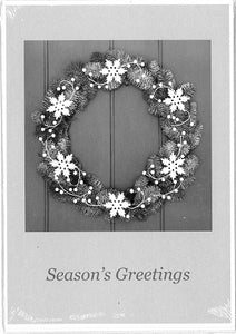 Wreath and Snowflakes Christmas Cards (pack of 8)