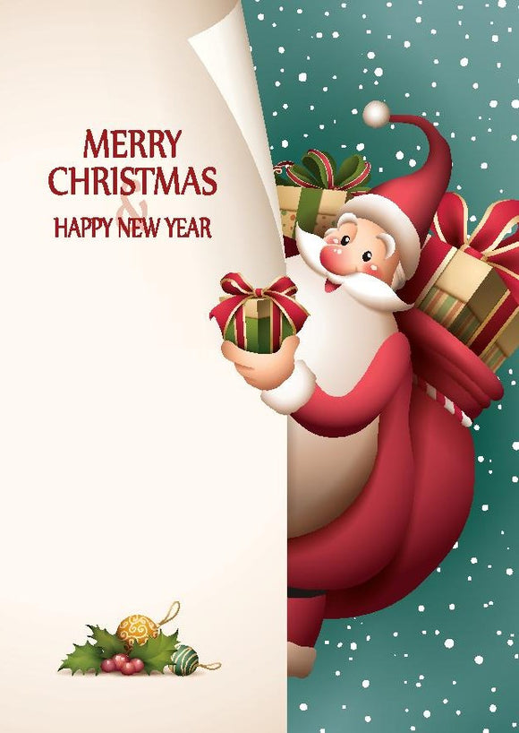 Santa and Gifts Christmas Cards (pack of 8)