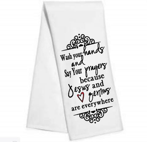 Jesus and germs.......Kitchen/Bar Towel