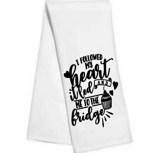 I followed my heart to the fridge.....kitchen-bar towel
