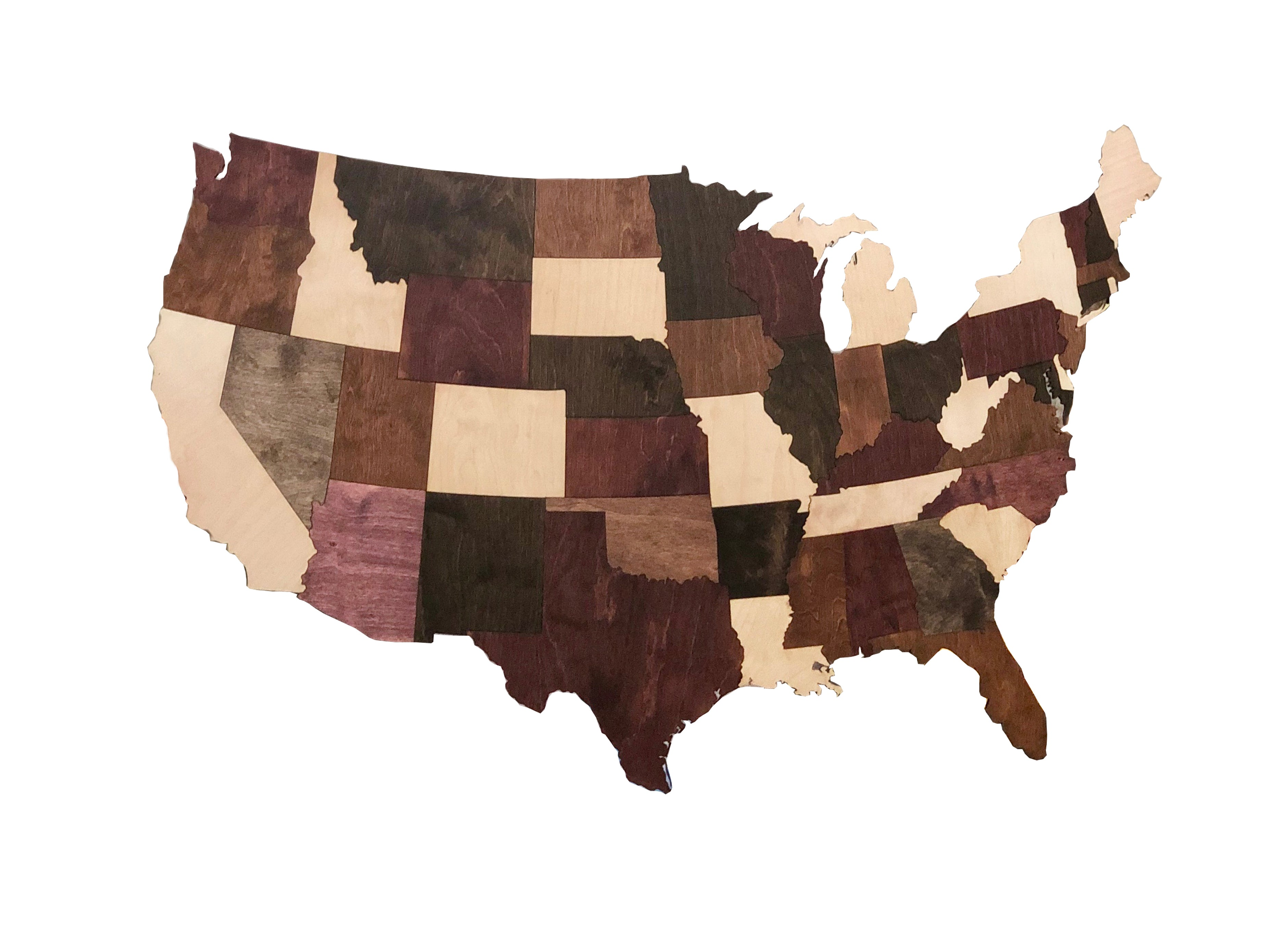 wooden united states map Wooden USA Map   Griffen Hollow Studio