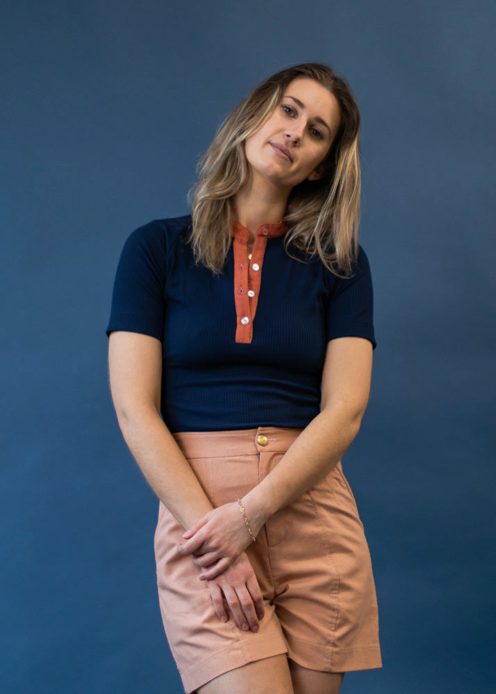 Haystack Henley | Short Sleeve Knit Top - Street and Saddle