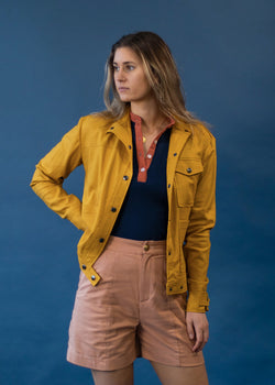 Linen Chore Jacket | Straight Fit Stretch Jacket - Street and Saddle