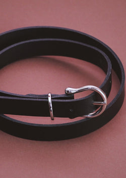 Horseshoe | Black Leather Belt - Street and Saddle