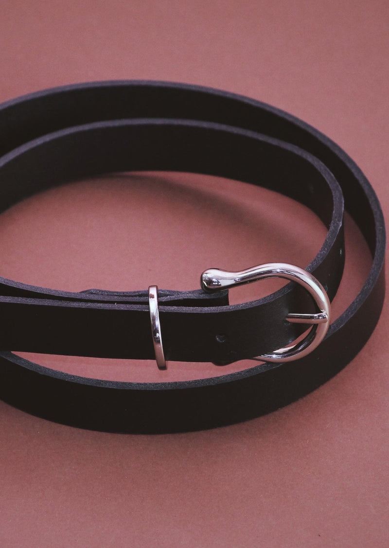 Horseshoe | Black Leather Belt, Street_and_Saddle, vancouver_plus_size_holiday_ethical_fashion_womens