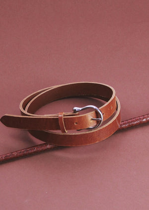 Chestnut brown Horseshoe belt, [Street_and_Saddle], [Horse_Girl_Equestrian_Canadian_Sustainable_Essential]