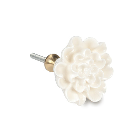 Ivory Sculpted Flower Drawer Knob