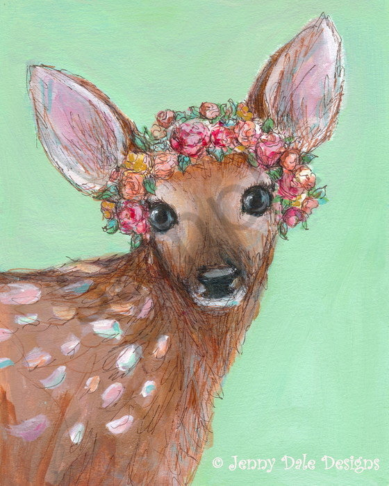 Fawn with Flower Crown Canvas Print