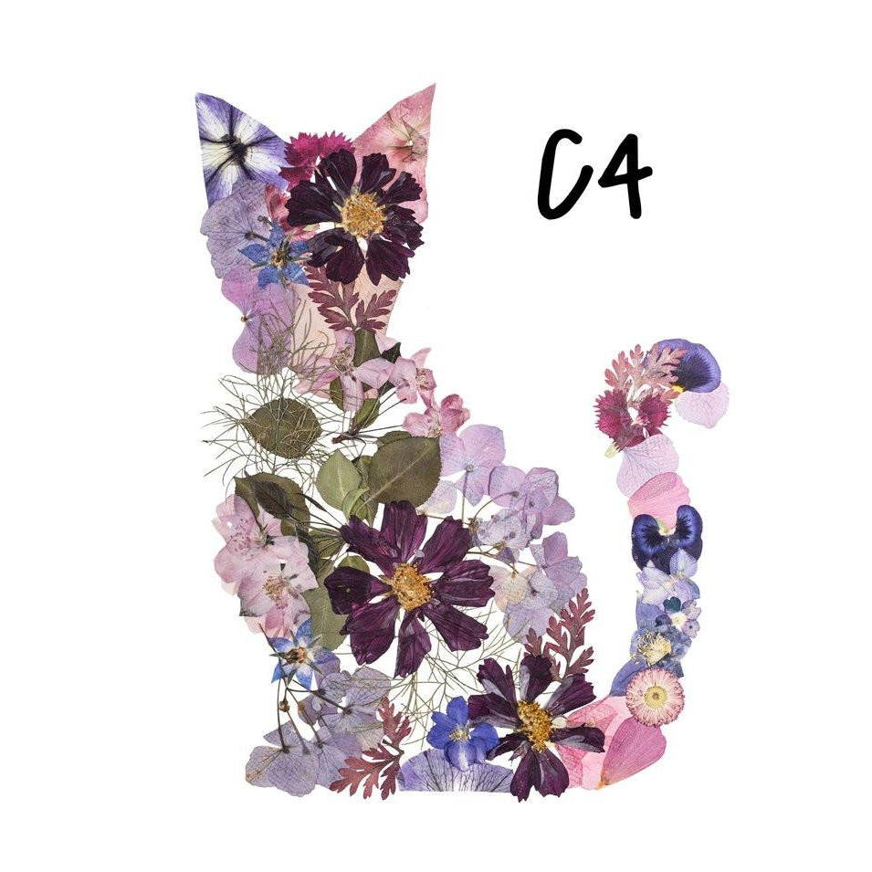 Cat Purple Pressed Flower Art Print