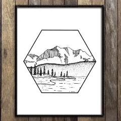 Mountains in Hexagon Print