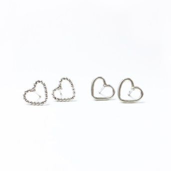 Siver Heart Studs