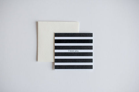 I Love You Stripe Mini Notecard