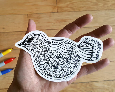 Bird Vinyl Colouring Sticker