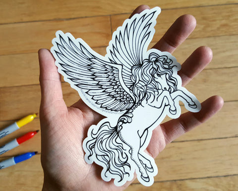 Pegasus Vinyl Colouring Sticker
