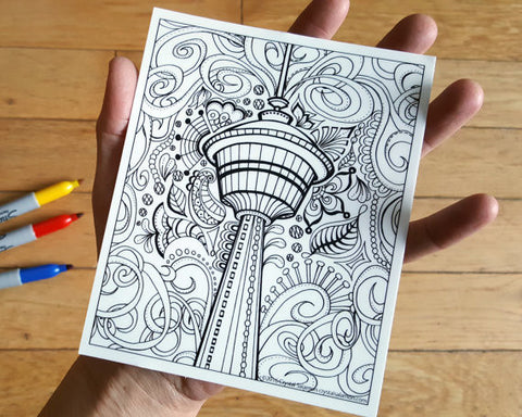 Calgary Tower Vinyl Colouring Sticker