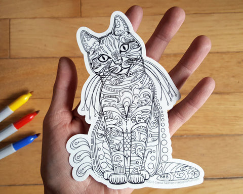 Cat Vinyl Colouring Sticker